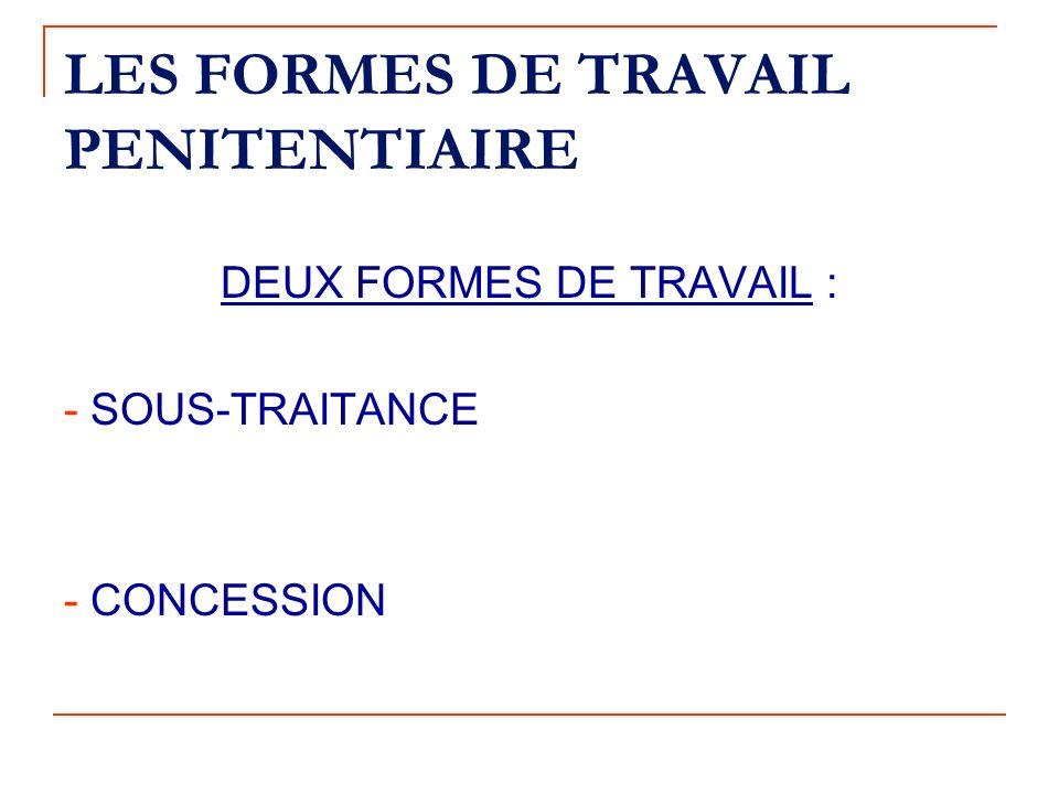 LES FORMES DE TRAVAIL PENITENTIAIRE