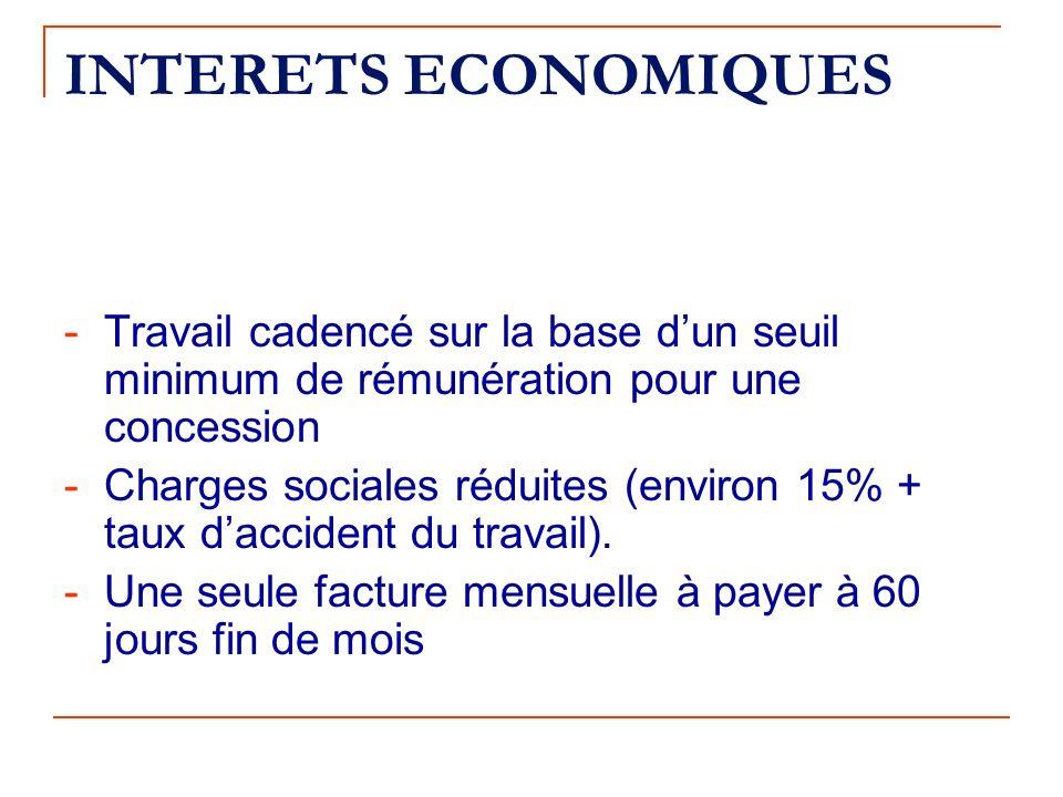 INTERETS ECONOMIQUES - Travail cadencé sur la base d'un seuil minimum de rémunération pour une concession.