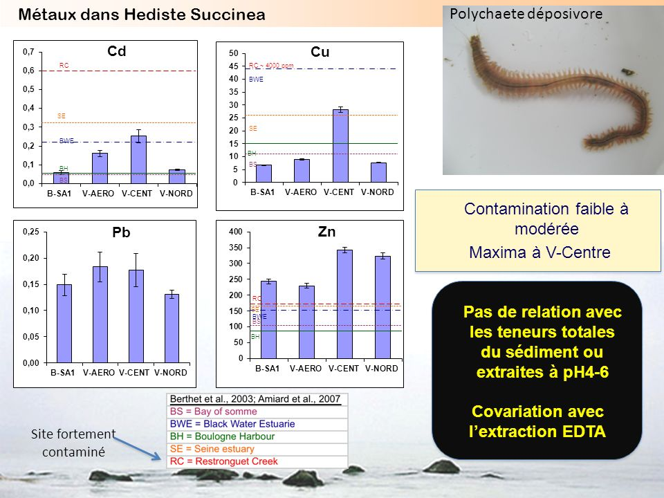 Covariation avec l'extraction EDTA