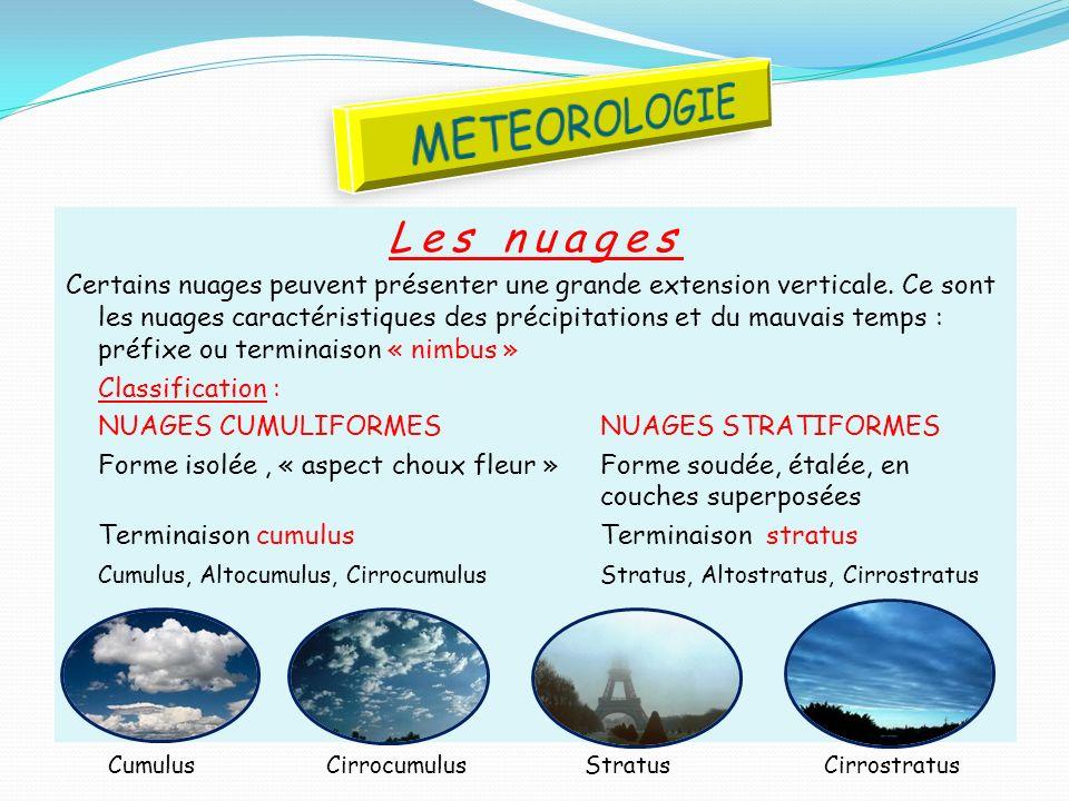 METEOROLOGIE Les nuages