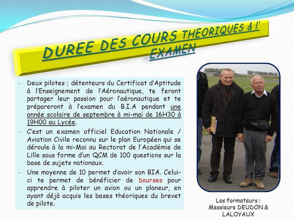 DUREE DES COURS THEORIQUES & l' EXAMEN