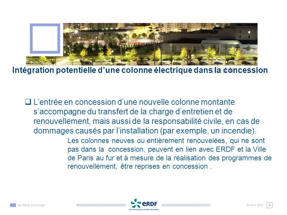 Intégration potentielle d'une colonne électrique dans la concession