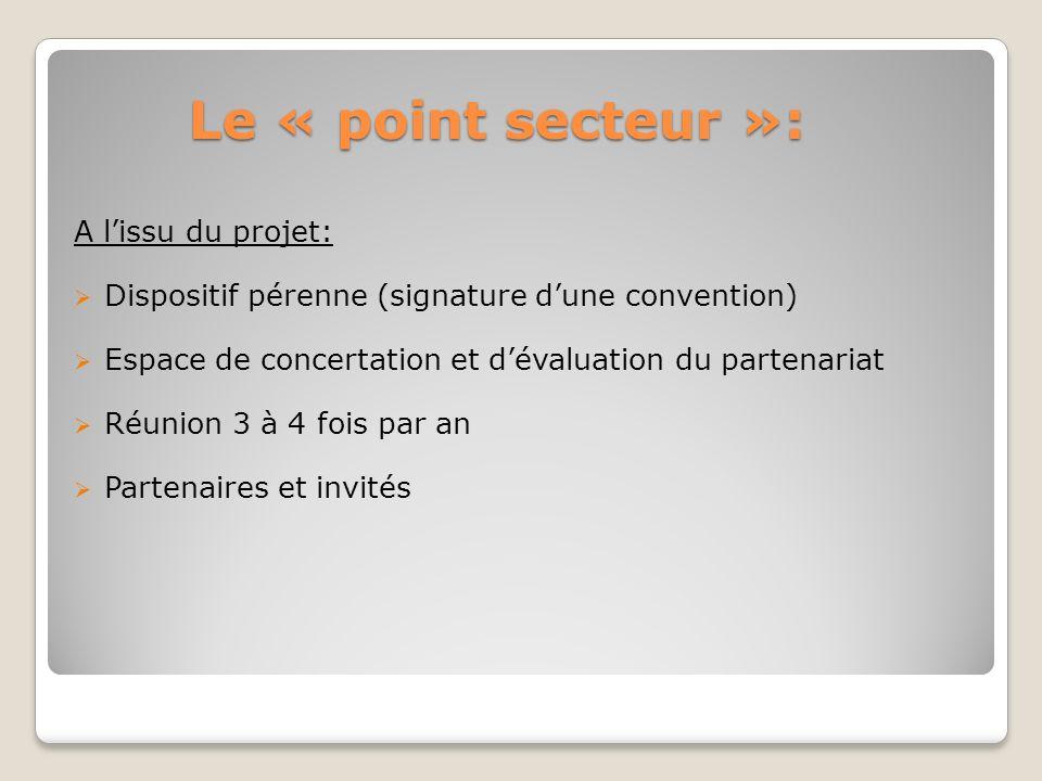 Le « point secteur »: A l'issu du projet: