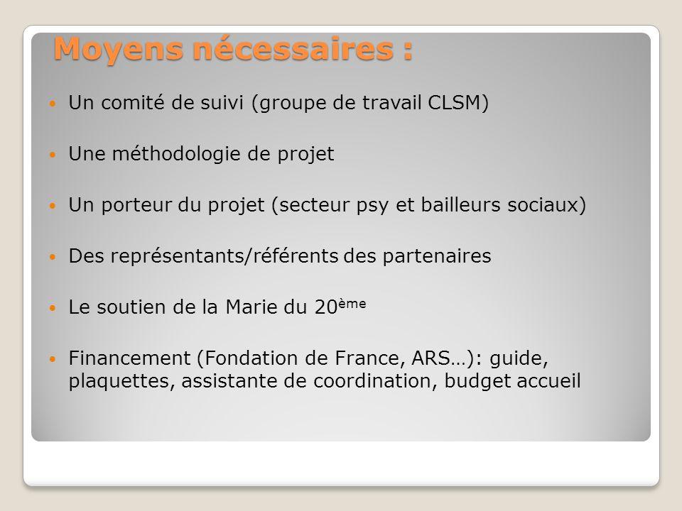Moyens nécessaires : Un comité de suivi (groupe de travail CLSM)