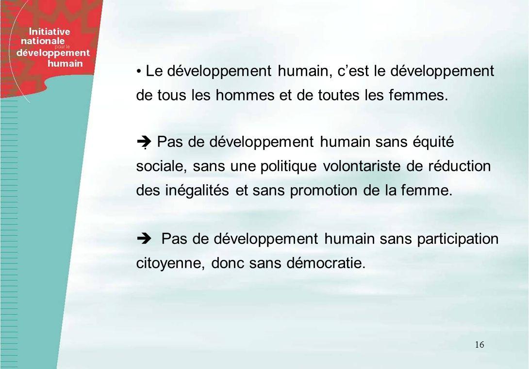 • Le développement humain, c'est le développement de tous les hommes et de toutes les femmes.