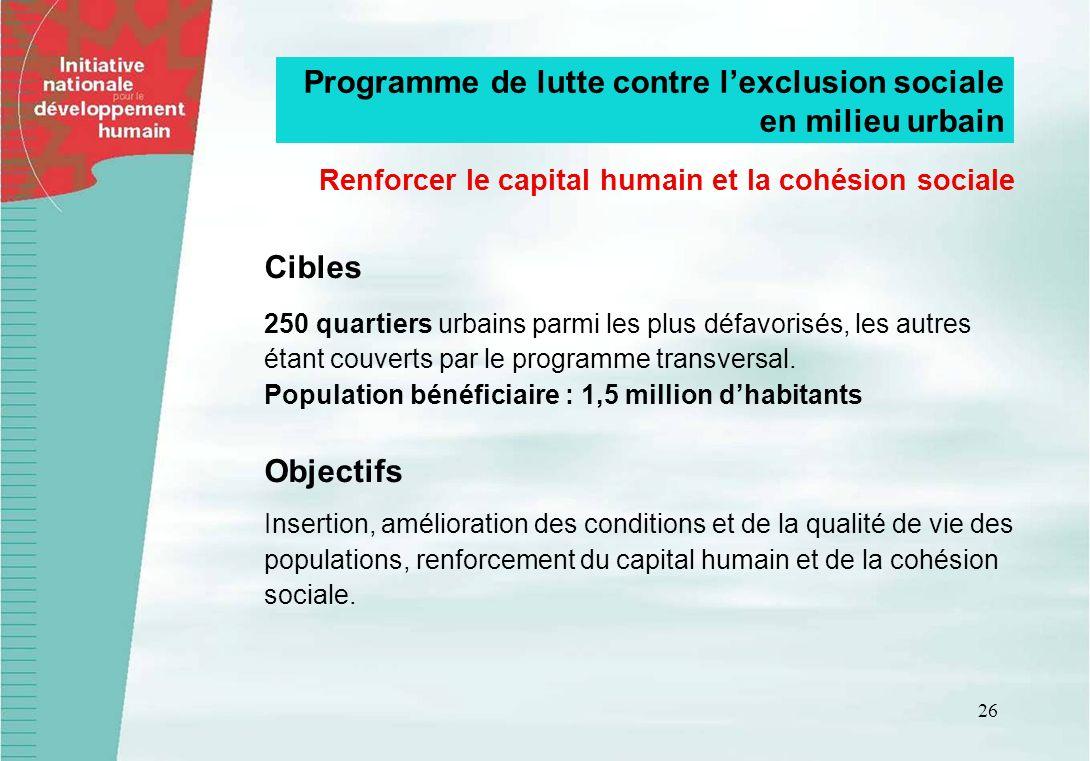 Renforcer le capital humain et la cohésion sociale