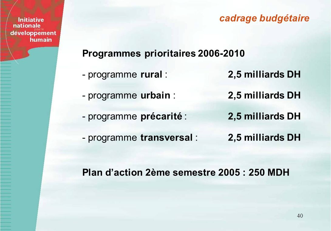 cadrage budgétaire Programmes prioritaires 2006-2010. - programme rural : 2,5 milliards DH. - programme urbain : 2,5 milliards DH.