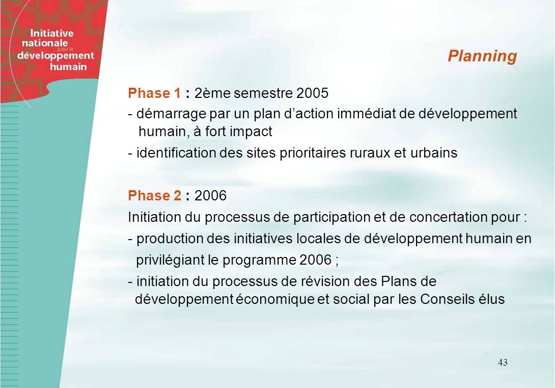 Planning Phase 1 : 2ème semestre 2005