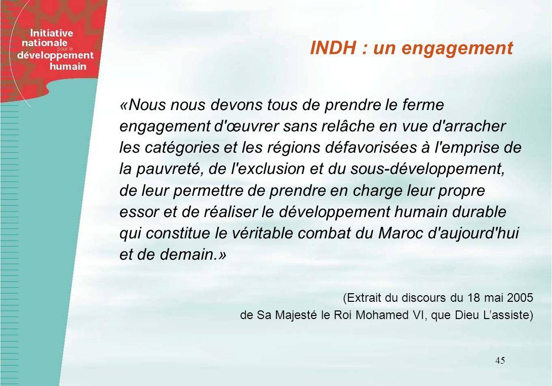 INDH : un engagement «Nous nous devons tous de prendre le ferme engagement d œuvrer sans relâche en vue d arracher.