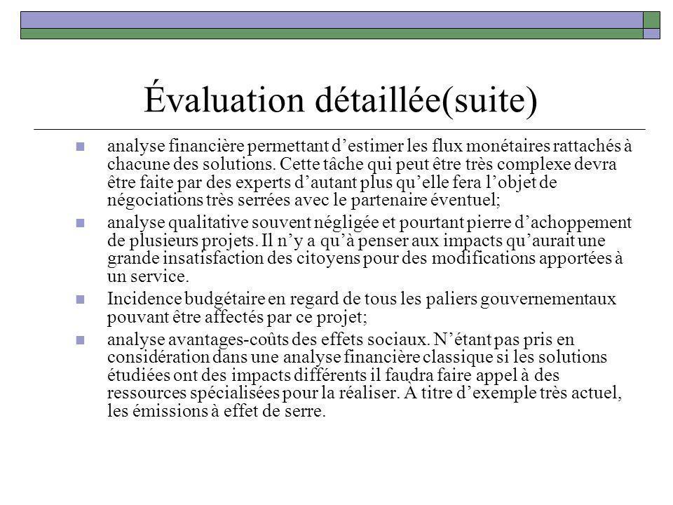 Évaluation détaillée(suite)