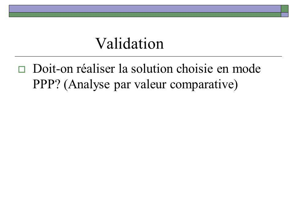 Validation Doit-on réaliser la solution choisie en mode PPP (Analyse par valeur comparative)