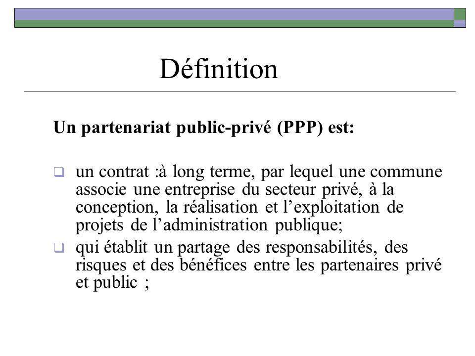 Définition Un partenariat public-privé (PPP) est: