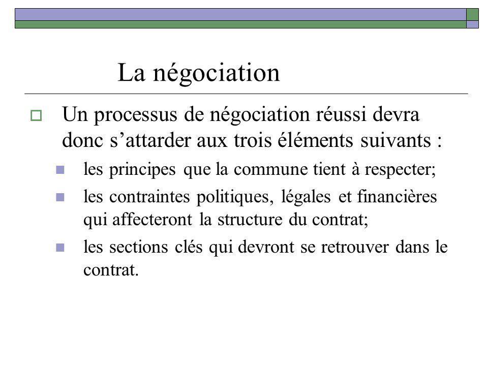 La négociation Un processus de négociation réussi devra donc s'attarder aux trois éléments suivants :