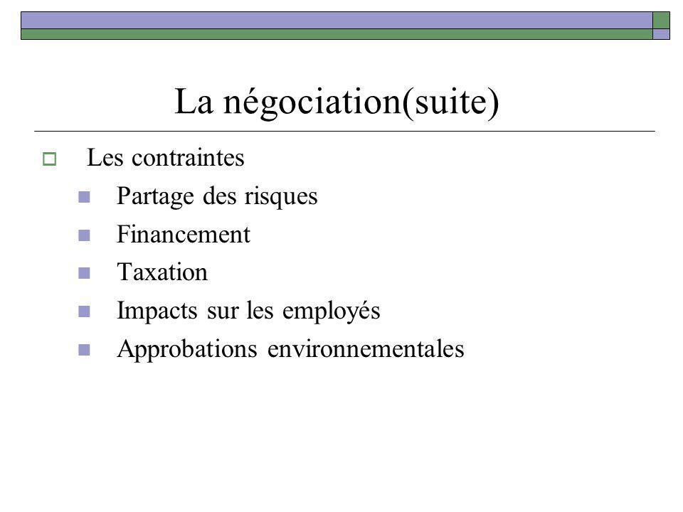 La négociation(suite)