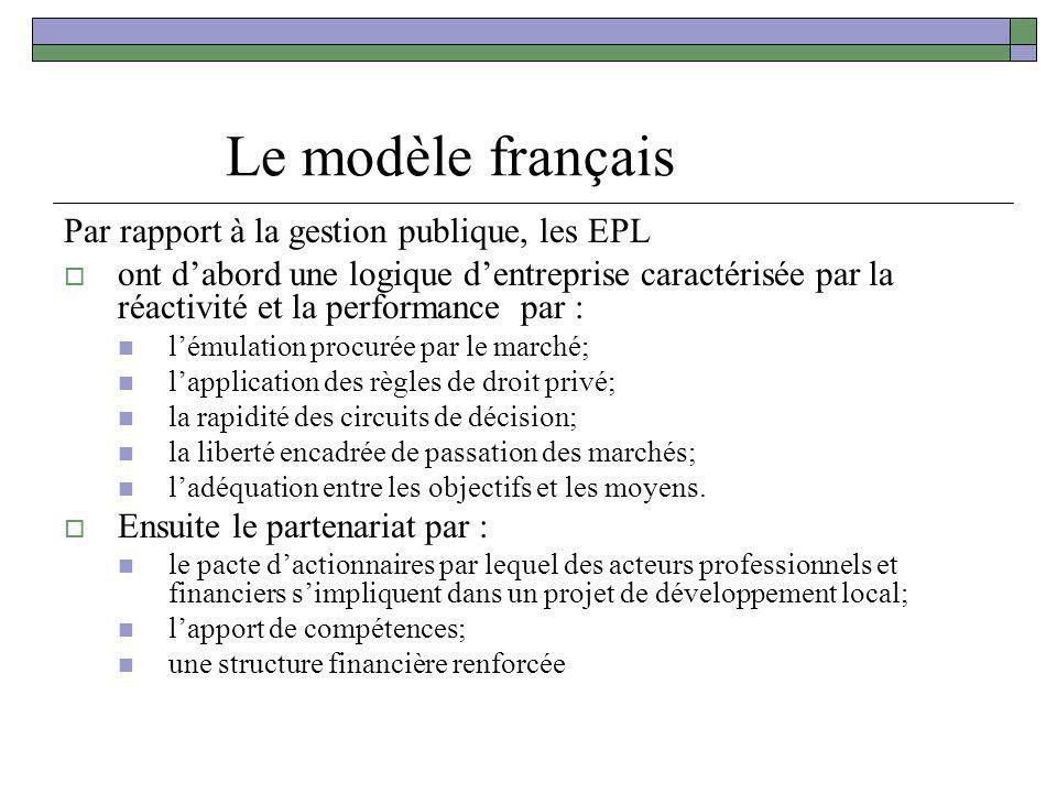 Le modèle français Par rapport à la gestion publique, les EPL
