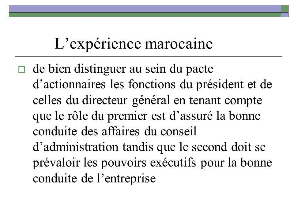 L'expérience marocaine