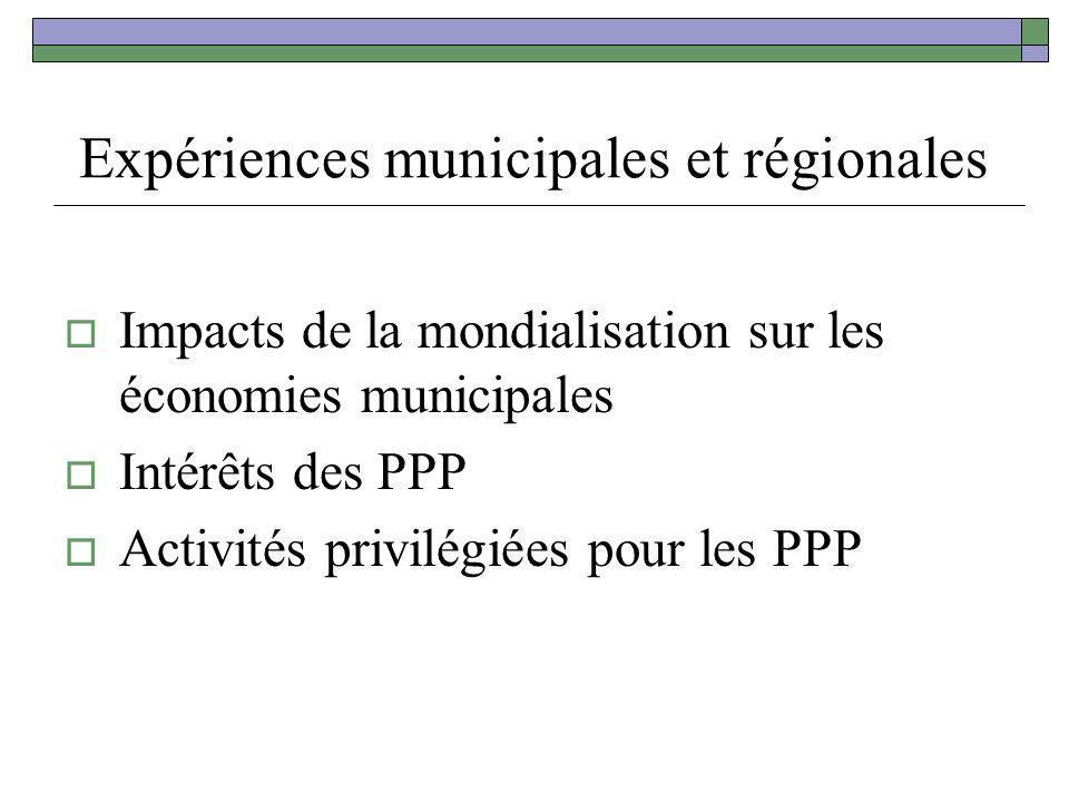 Expériences municipales et régionales