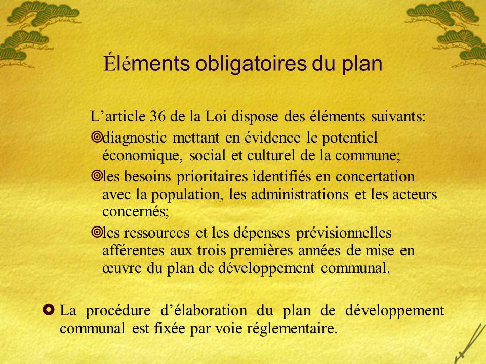 Éléments obligatoires du plan