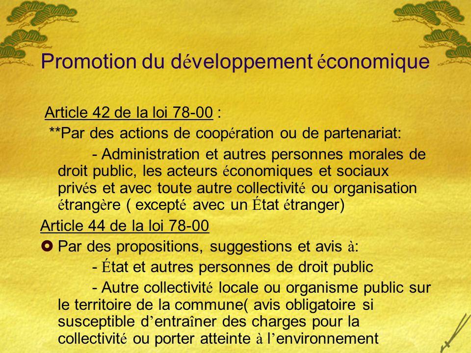 Promotion du développement économique