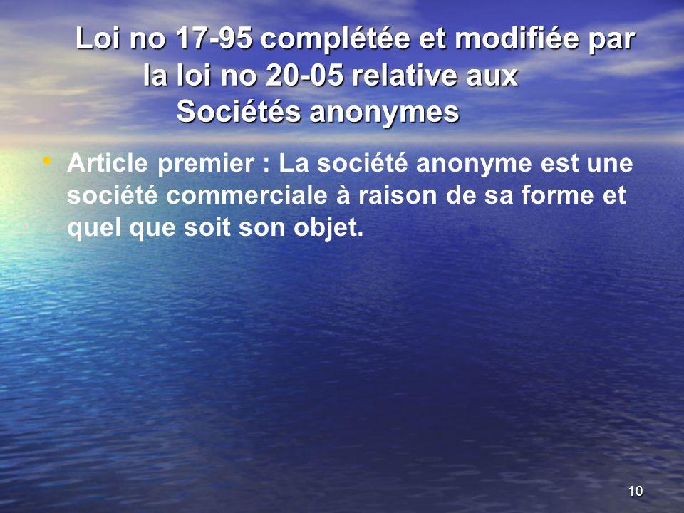 Loi no 17-95 complétée et modifiée par la loi no 20-05 relative aux Sociétés anonymes
