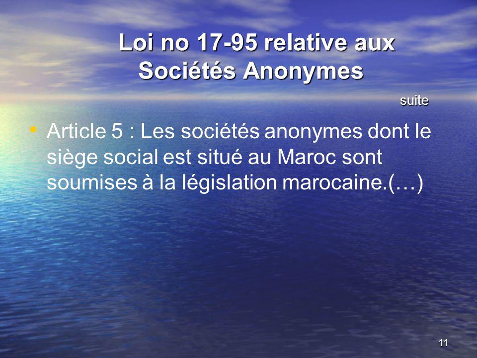 Loi no 17-95 relative aux Sociétés Anonymes suite