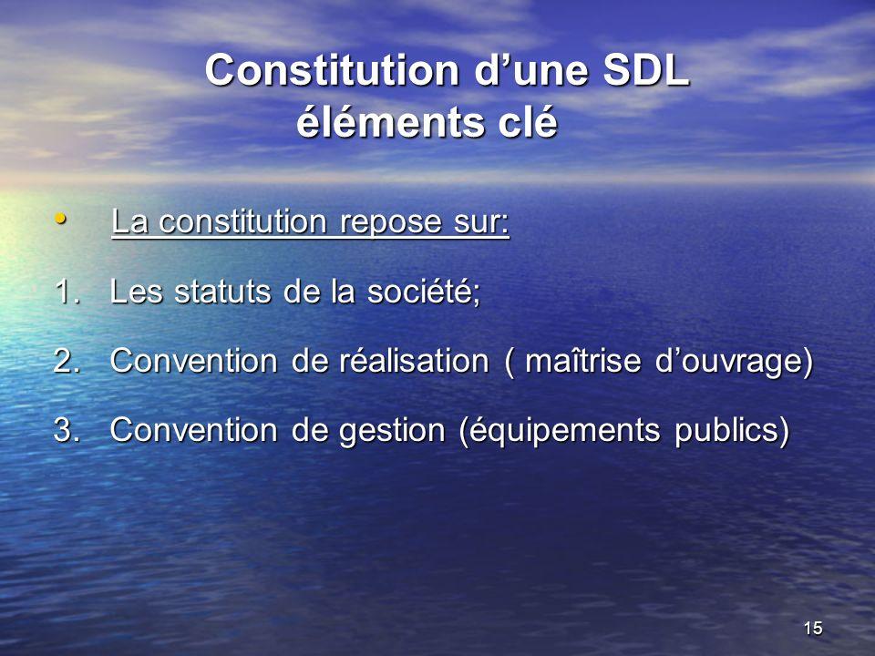 Constitution d'une SDL éléments clé