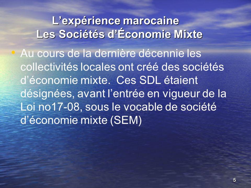 L'expérience marocaine Les Sociétés d'Économie Mixte