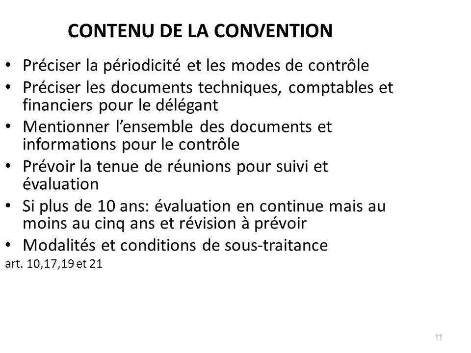 CONTENU DE LA CONVENTION