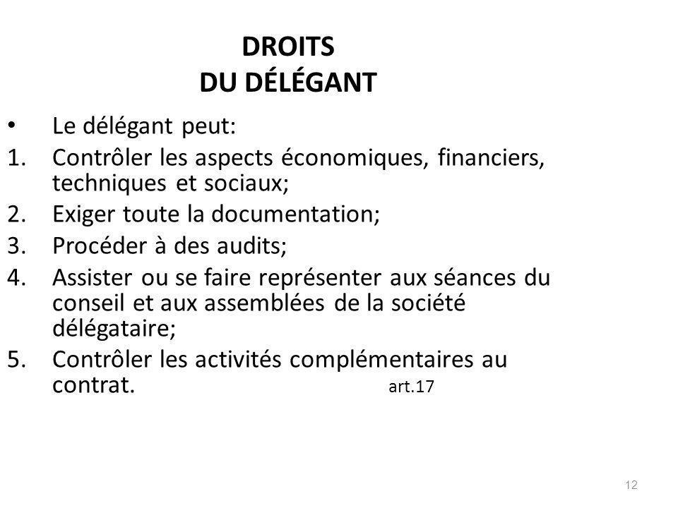 DROITS DU DÉLÉGANT Le délégant peut: