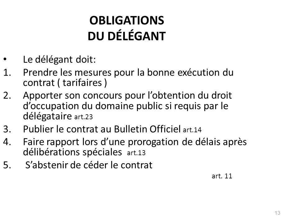 OBLIGATIONS DU DÉLÉGANT