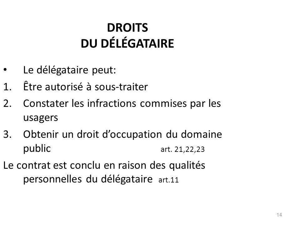 DROITS DU DÉLÉGATAIRE Le délégataire peut: