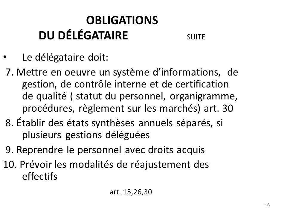 OBLIGATIONS DU DÉLÉGATAIRE SUITE