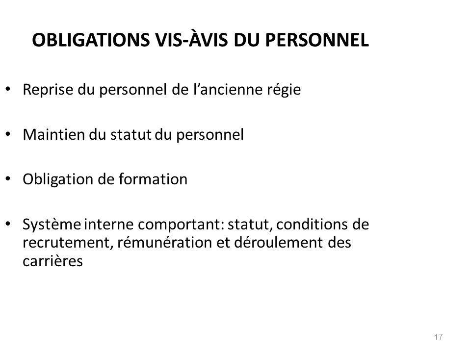 OBLIGATIONS VIS-ÀVIS DU PERSONNEL