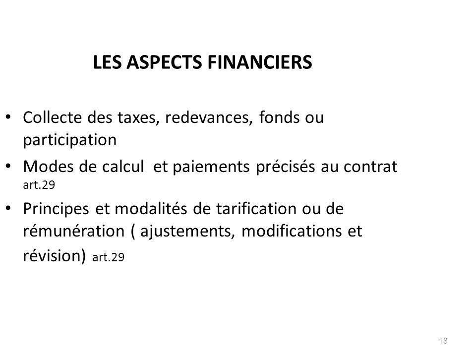 LES ASPECTS FINANCIERS