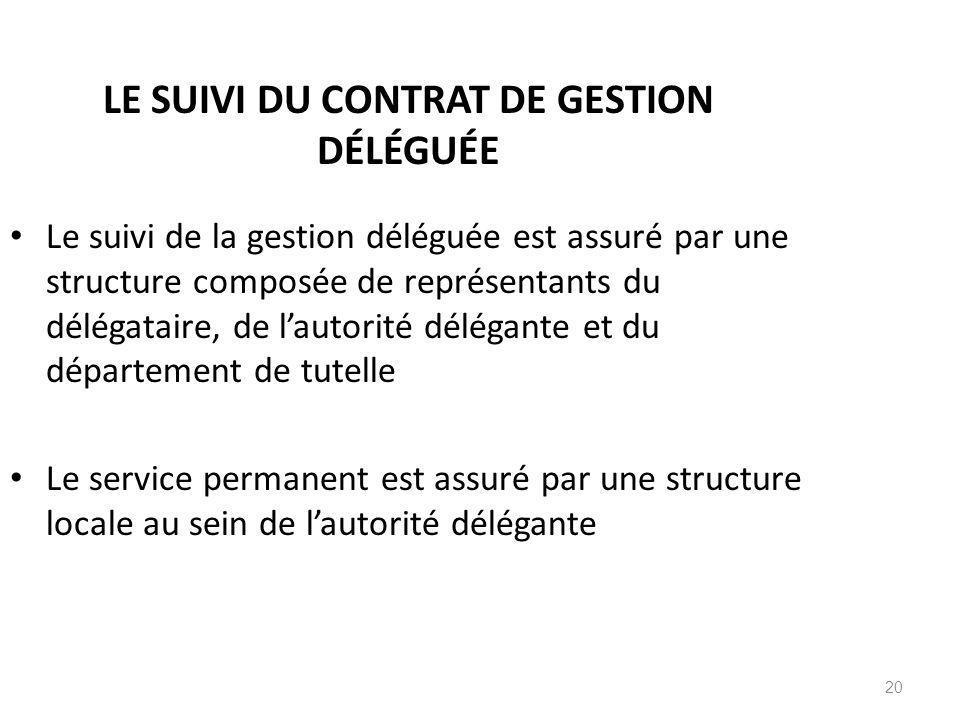 LE SUIVI DU CONTRAT DE GESTION DÉLÉGUÉE