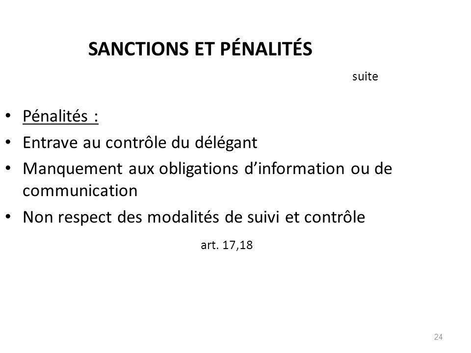 SANCTIONS ET PÉNALITÉS suite