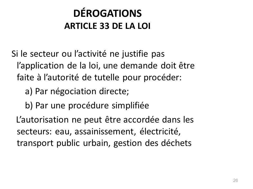 DÉROGATIONS ARTICLE 33 DE LA LOI