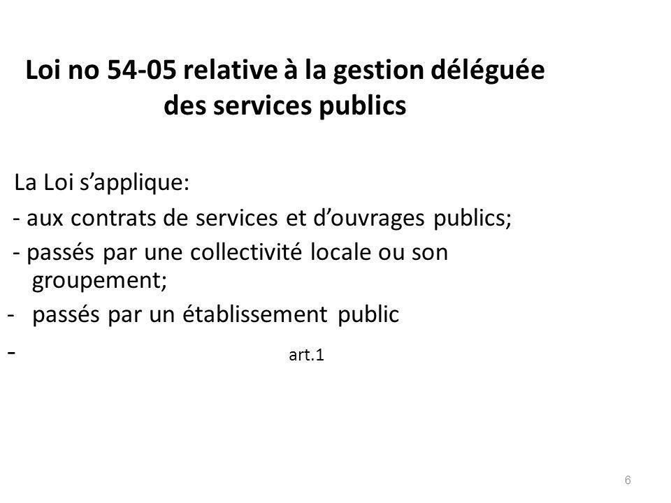 Loi no 54-05 relative à la gestion déléguée des services publics