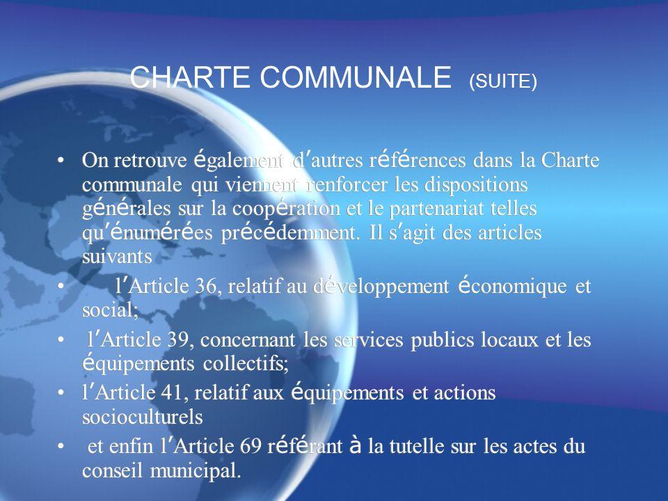 CHARTE COMMUNALE (SUITE)