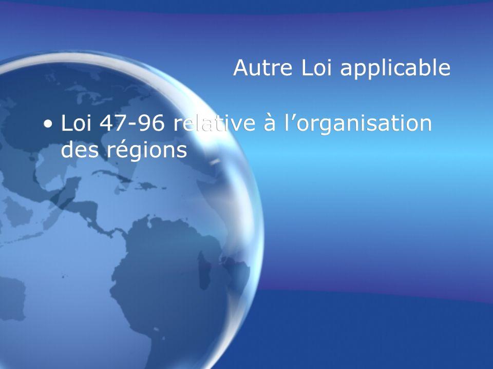 Autre Loi applicable Loi 47-96 relative à l'organisation des régions