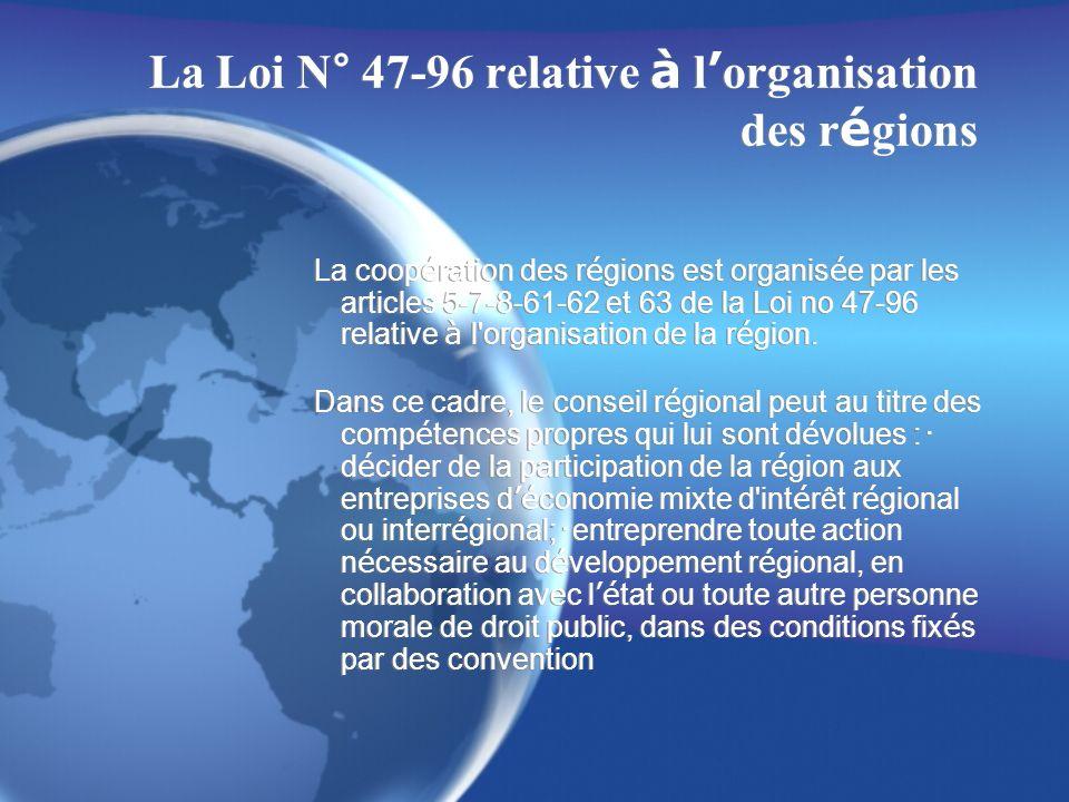 La Loi N° 47-96 relative à l'organisation des régions