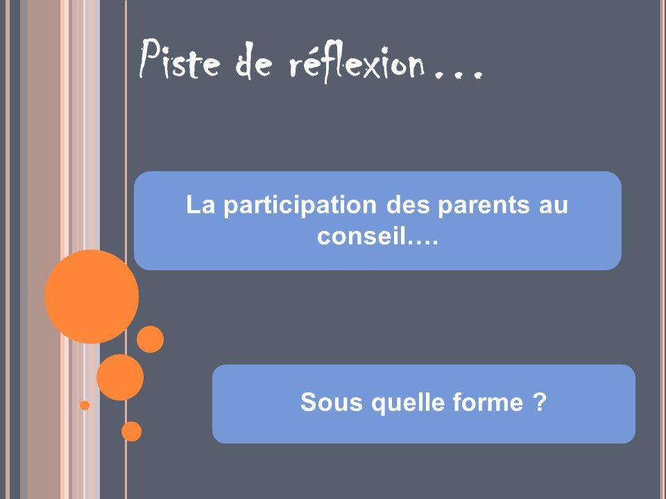 La participation des parents au conseil….