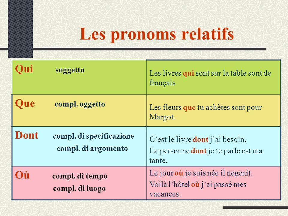 Les pronoms relatifs Qui soggetto Que compl. oggetto