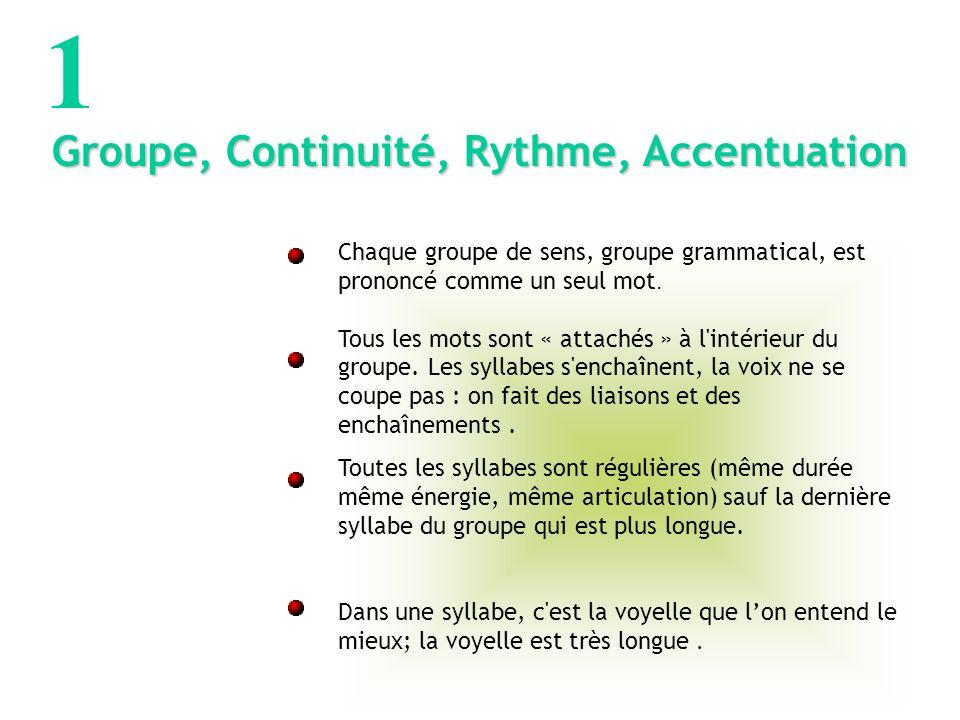 1 Groupe, Continuité, Rythme, Accentuation