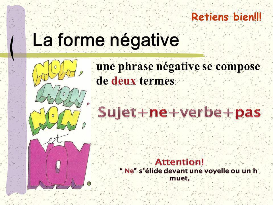 La forme négative une phrase négative se compose de deux termes: