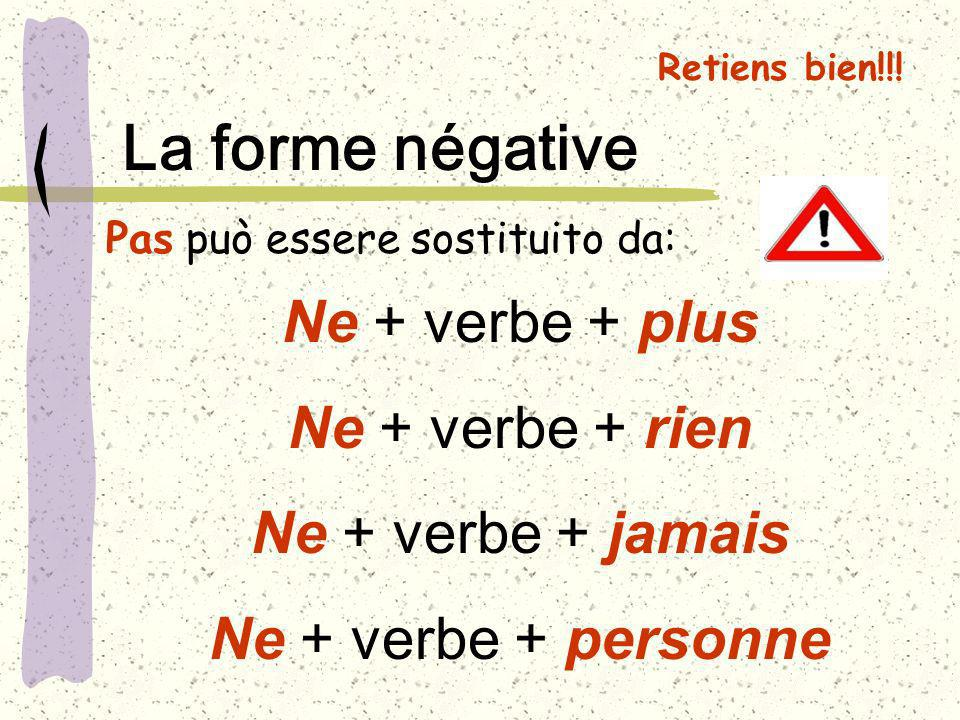 La forme négative Ne + verbe + plus Ne + verbe + rien