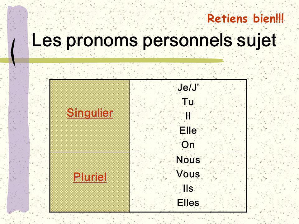 Les pronoms personnels sujet