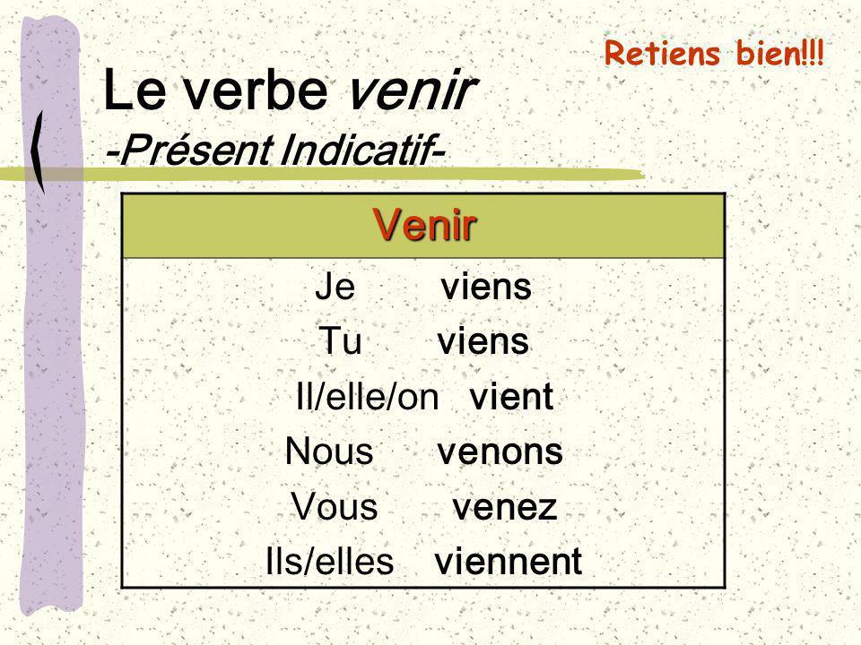 Le verbe venir -Présent Indicatif- Venir Je viens Tu viens