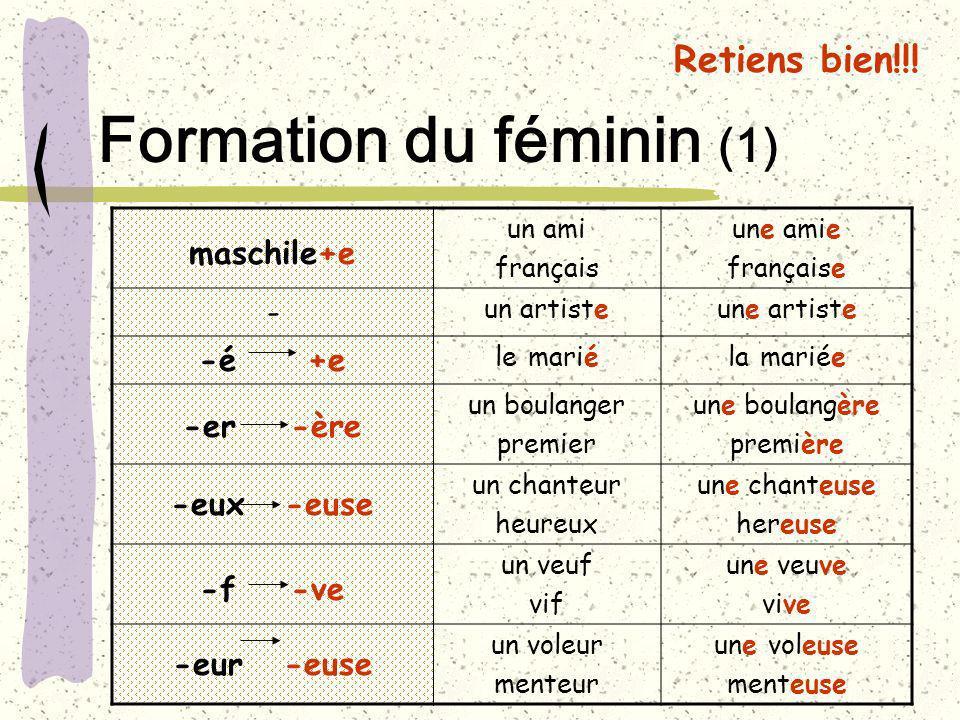 Formation du féminin (1)