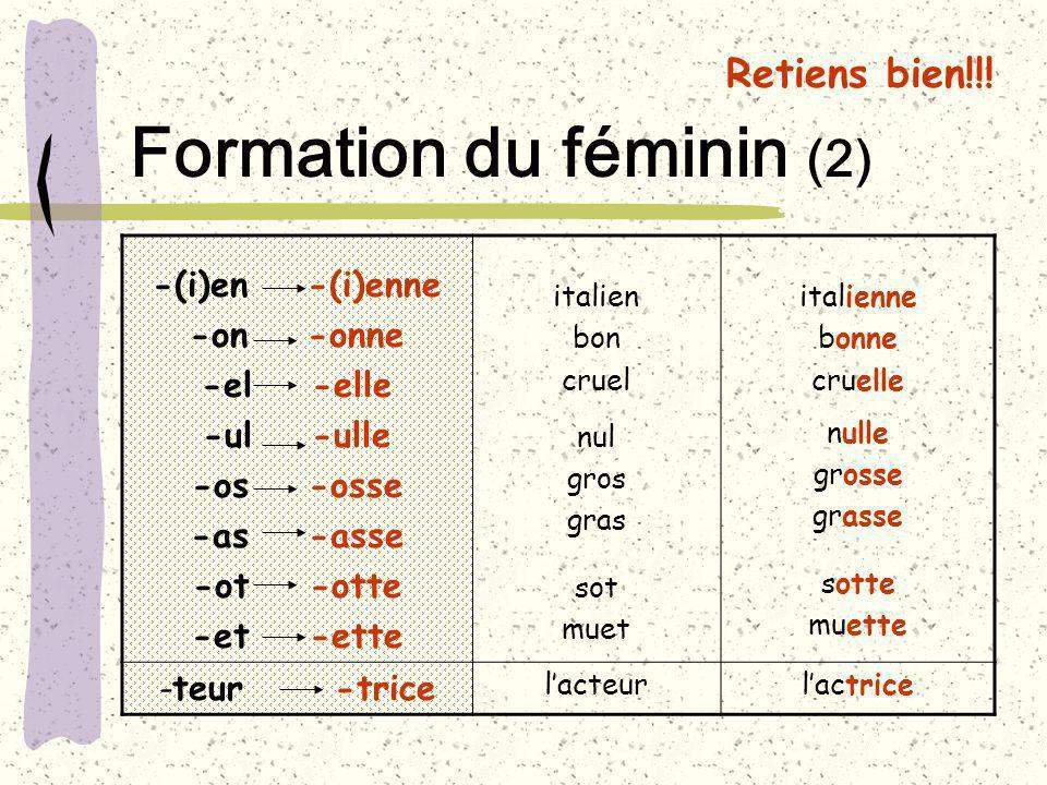 Formation du féminin (2)